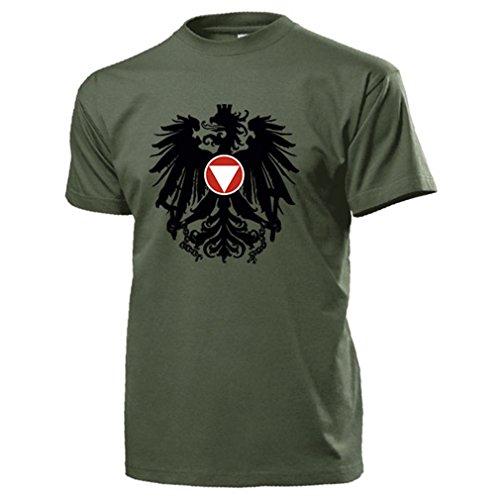 Bundesheer Österreich Adler Wappen Logo Abzeichen Heer Militär - T Shirt #14517, Farbe:Oliv, Größe:Herren M
