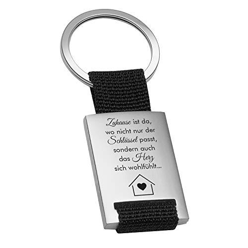 """Geschenke 24 Schlüsselanhänger """"Zuhause ist"""" (schwarz): Schlüsselanhänger personalisiert mit Spruch und Name Bedruckt - Autozubehör, Ankerpunkt - Geburtstagsgeschenk, Muttertag Vatertag"""