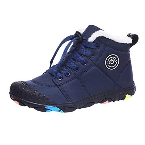 Frauen Schnee Flache Stiefeletten Kurze Stiefel Schuhe Mittlere Waden Schnürstiefel Outdoor Wandern Winter Warme Stiefel(37 EU,Blau)