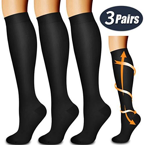 Laite Hebe compression socks women&men,Black,L/XL (3 pairs)