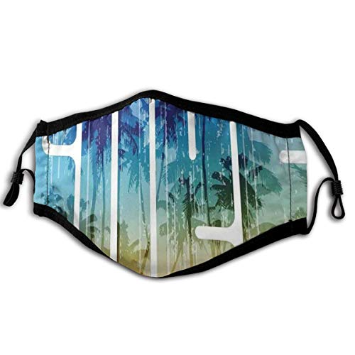 Comfortable Windproof mask,Summer Surf Retro Letters That Reflect The Seacoast With Palm Tree Extreme Sports Art,Printed Facial decorations for adult