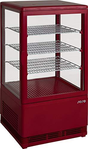 Gastro Spirit - Mini Umluft-Kühlvitrine Rot/Kuchenvitrine/Kunststoffgehäuse/70 L Kühlteil/3 höhenverstellbare Roste/4-seitig doppelverglast/43 cm Breite