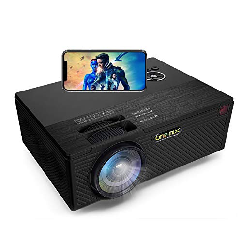 ONE·MIX HD Proyector de vídeo | Mini Portátil Projector with 170' Display | Home Cinema Teatro Multimedia soporta 1080P HDMI AV USB SD iPad iPhone Android Smartphone (Black)