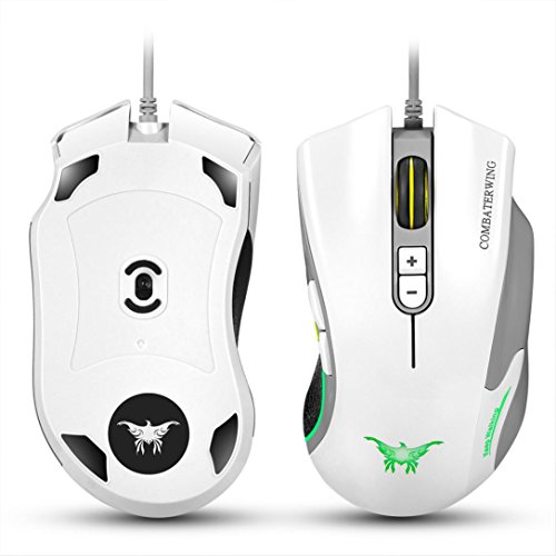 Mouse ,ZYooh LED Combaterwing CW10 4800 DPI Wired Gaming Mouse White