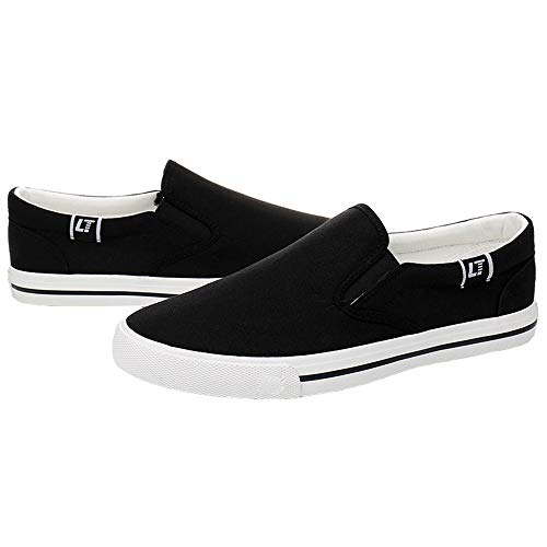 Heren canvas schoenen, Slip-On Casual Walking Sneakers Instappers Ademende Street Fashion Shoes,Black,43EU
