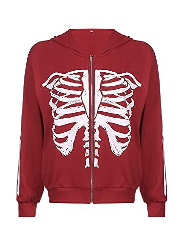 Sudaderas con capucha con cremallera completa, casual de manga larga con estampado de esqueleto, rojo vino, L