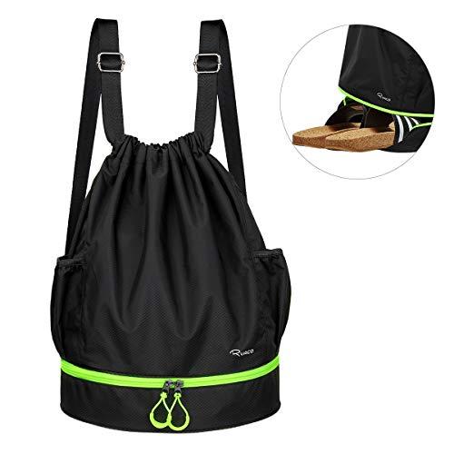 Ryaco Mochila de Cuerda Unisex, Saco de Gimnasia para Deporte Gimnasio Yoga Nadar (Negro & Verde Neón)