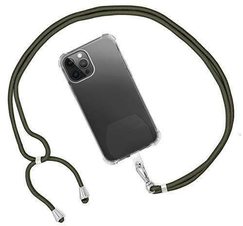 MyGadget Cordón Universal para Apple iPhone 12 Mini Pro X XR XS MAX/Huawei P30 Lite P20 / Samsung Galaxy S10 Plus S9+ A40 / Xiaomi Mi 9 - Olive Green