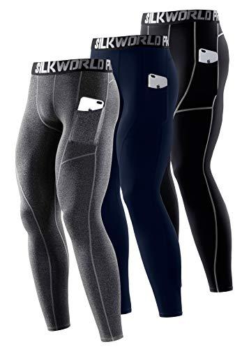 SILKWORLD Men's Compression Pants Pockets Dri Fit Gym Leggings Baselayer Running Tights (Medium, Pack of 3: Dark Navy Blue+Black(Grey Stripe)+Hemp Gray)