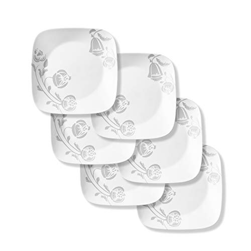 Corelle Boutique Square Night Bloom Chip Resistant Dinner Plates 10.5in (26.7cm), 6 Pack