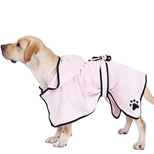 PET SPPTIES Mikrofaser Hundebademantel Feuchtigkeit absorbierende Ultra Soft Bademantel für Hunde Katzen PS071 (M,Pink)