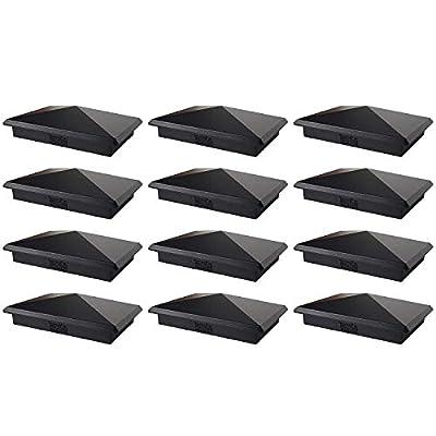 "4"" x 6"" Heavy Duty Aluminium Pyramid Post Cap for Wood Posts - Black (12 Pack)"