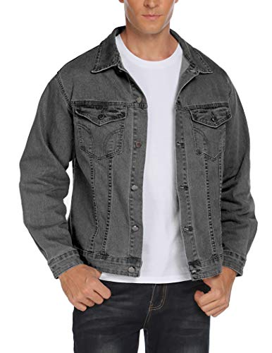COOFANDY Mens Stylish Denim Jacket Turn Down Collar Classic Regular Fit Jean Coat