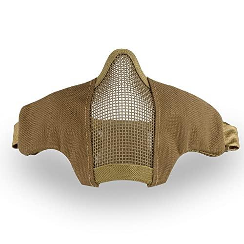 Swiss Arms Accessoire Airsoft - Demi Masque de Protection Facial Stalker Evo - avec Grille métal et Renfort - Couleur Coyote
