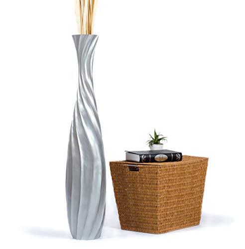 LEEWADEE Jarrón de Suelo Grande Alto, jarrón Hecho a Mano de Madera de Mango, contenedor de pie para Las Ramas Decorativas, 112 cm, Plateado