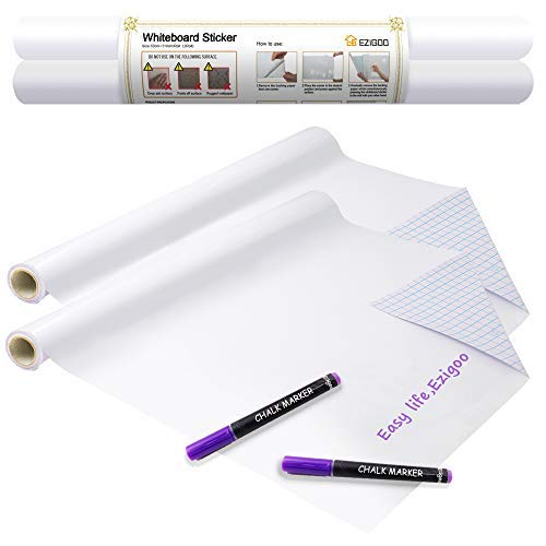 pizarra blanca adhesiva - Etiqueta autoadhesiva de papel de pizarra blanca para pared 60 x 310 CM - 2 rollos, para tablero de mensajes para oficina, hogar o escuela con 2 marcadores de tiza