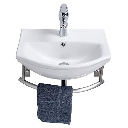 Small Wall Mount Bathroom Sink Combo Faucet And Drain With Stainless Steel Towel Bar Renovators Supply Manufacturing