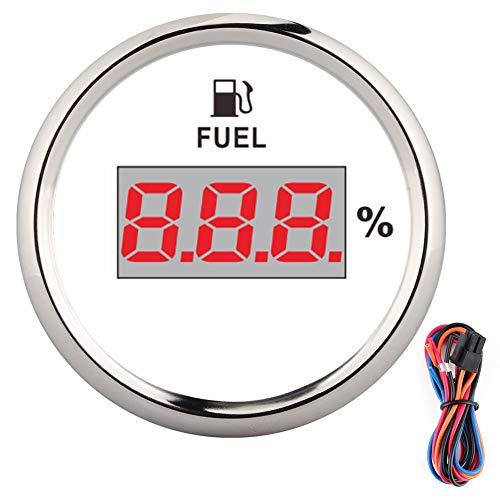 Tankanzeige, 2 Zoll 190 Ohm Kraftstoffanzeige Digitaler Ölstandsmesser Prozentsatz für 12V/24V Yachtboot Cat Motorrad(Silberrahmen auf Weiß)
