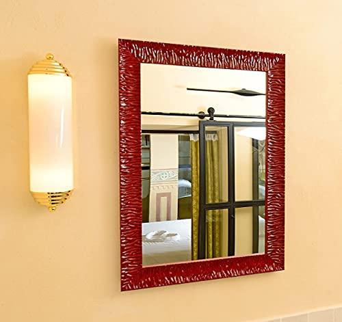 GaviaStore - Julie 70x50 cm - Espejo de Pared Moderno - Muebles para el hogar Arte decoración Sala de Estar Salon Modern Dormitorio baño Cocina Entrada Wall (Rojo)