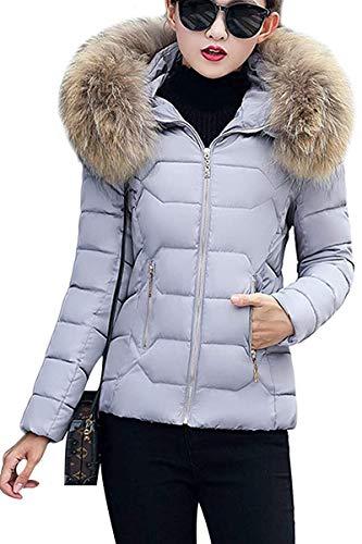 Dames winter jas warm gevoerd kort donzen katoen ski-jack gewatteerde jas met modieuze Completi imitatiebont capuchon unieke gezellige overgang jas