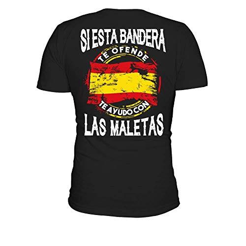 TEEZILY Camiseta Hombre Si Esta Bandera te ofende te ayudo con Las Maletas - Negro - XXL