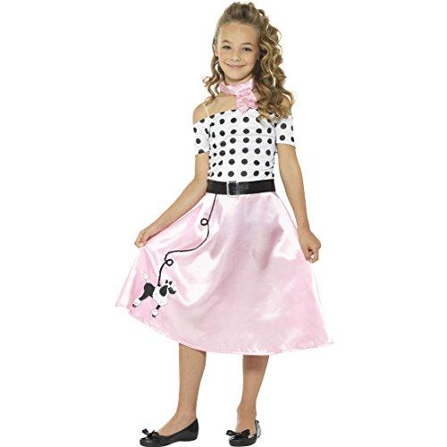 NET TOYS Rock'n'Roll Kinderkostüm 50er Jahre Kostüm Kind M, 7 - 9 Jahre, 130 - 143 cm Fifties Karnevalskostüm Mädchenkostüm Pudel