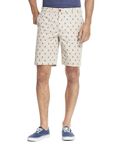 IZOD Men's Saltwater Stretch 9.5' Chino Printed Shorts, Cedarwood Khaki, 44