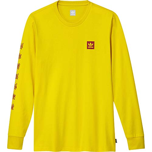 Adidas Skateboarding x Evisen - Maglietta a maniche lunghe, colore: Giallo scarlatto, Yellow/Scarlet, M