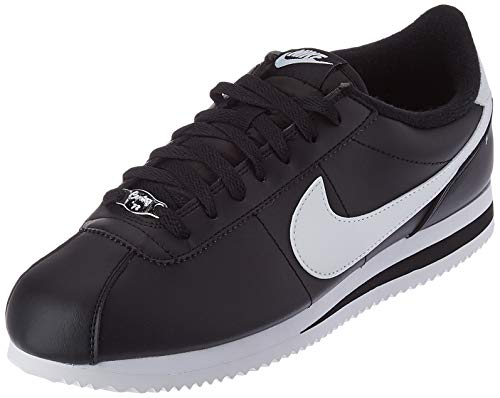 NIKE Men's Cortez Basic Leather Shoe, Zapatillas para Hombre, Multicolor (Black/White/Metallic Silver 12), 42.5 EU