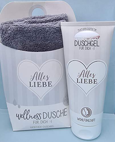 LaVida Coffret cadeau relaxant avec gel douche certifié cosmétique naturel avec serviette en coton bio