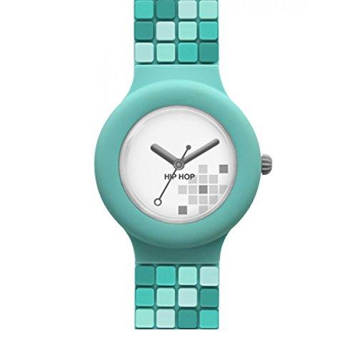 Orologio HIP HOP donna MOSAIC quadrante bianco e cinturino in silicone verde, movimento SOLO TEMPO - 3H QUARZO