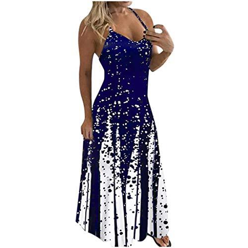 MRULIC Kleider Damen GroßE GrößEn Drucken Ohne Arm Rundhals BöHmen Drucken LäSsige Maxikleid Cocktailkleider Party Kleider Strandkleider Elegant Sommerkleider Abendkleid(A5-Blau,3XL)