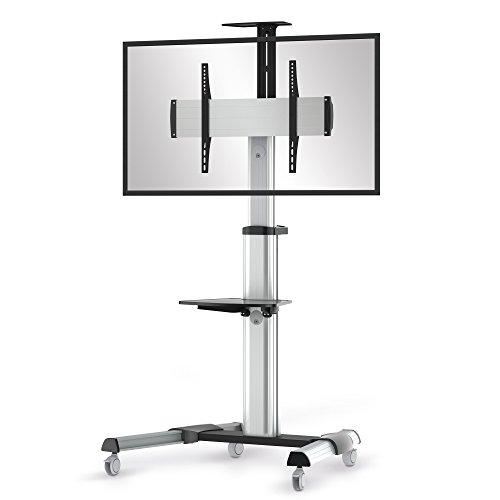 conecto LM-FS02G Pro TV Ständer Standfuß rollbar Universal für Monitor Fernseher LCD LED Plasma mobil mit Rollen höhenverstellbar schwenkbar drehbar 37-70 Zoll (94-178cm) VESA 200x200-600x400mm Alu