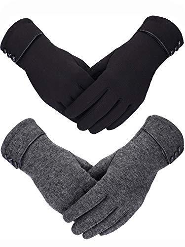 2 Paires Gants d'Hiver pour Femmes Gant en Peluche Plus Chaud Gants Coupe-Vent Doublés pour Femmes et Filles (noir, Gris)