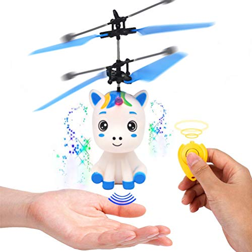 Stecto Juguete de unicornio volador controlado a mano, juguetes inteligentes de hada voladora con luz LED, helicóptero de bola recargable por USB para niñas y niños
