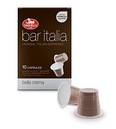 Saquella Caffe Bar ITALIA Bella Crema Kaffee, 10 Kapseln, Nespresso* kompatibel