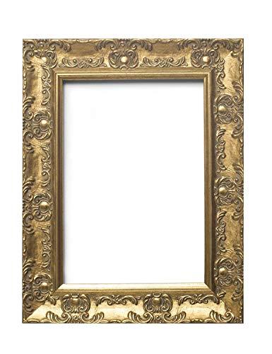 Europäische Rahmengröße - BREITER mit Ornamenten verzierter antiker Shabby Chic MUSE Bild/Foto/Plakatrahmen mit Plexiglasplatte - Formtein 58mm breit und 28 mm tief - 60 x 80 cm - Gold Farbe