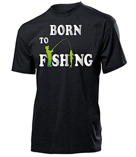 Born to Fishing 2838 Angeln Herren Männer T-Shirt Angel Zubehör Fischer Angelzubehör Norwegen Fischen Geschenk für Angler Karpfen Fischerhemd Fische Geschenke Fischerhemden Zander Tshirt