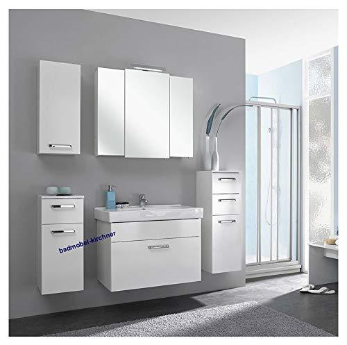 Pelipal - Wiesbaden 13 - Badmöbel-Set - 80 cm - Badset einfach, Komplettset, 6-teilig mit Spiegelschrank, Keramik-Waschtisch usw. in weiß Glanz, EEK: A+ (Spektrum A++ - A)