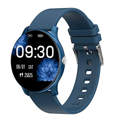 Smartwatch Damen Fitness Armband Uhr 1.08 Zoll IPS Touchscreen Fitness Tracker Sportuhr mit Schrittzähler Pulsuhr IP 67 Wasserdicht Smart Watch für iOS Android (Blau)