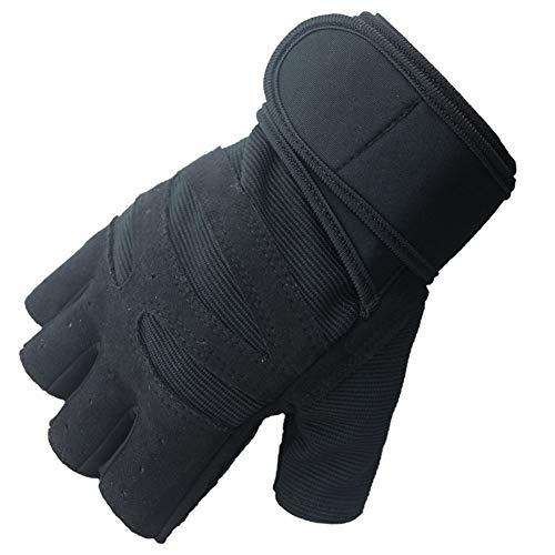 Lange handgelenk handschuhe fitness handschuhe fahrrad halbfingerhandschuhe outdoor halbfinger sporthandschuhe Handschuhe (Color : Black, Size : M)