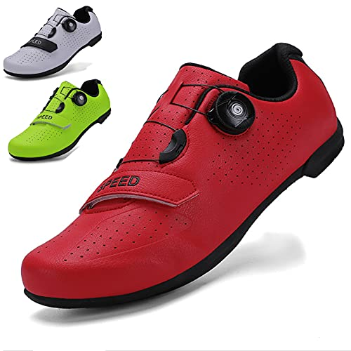 WYUKN Calzado de Ciclismo de Carretera para Hombre,Zapatillas de Spinning con Zapatilla Peloton de Cala Compatible con SPD y Delta,Red-40EU=(250mm)