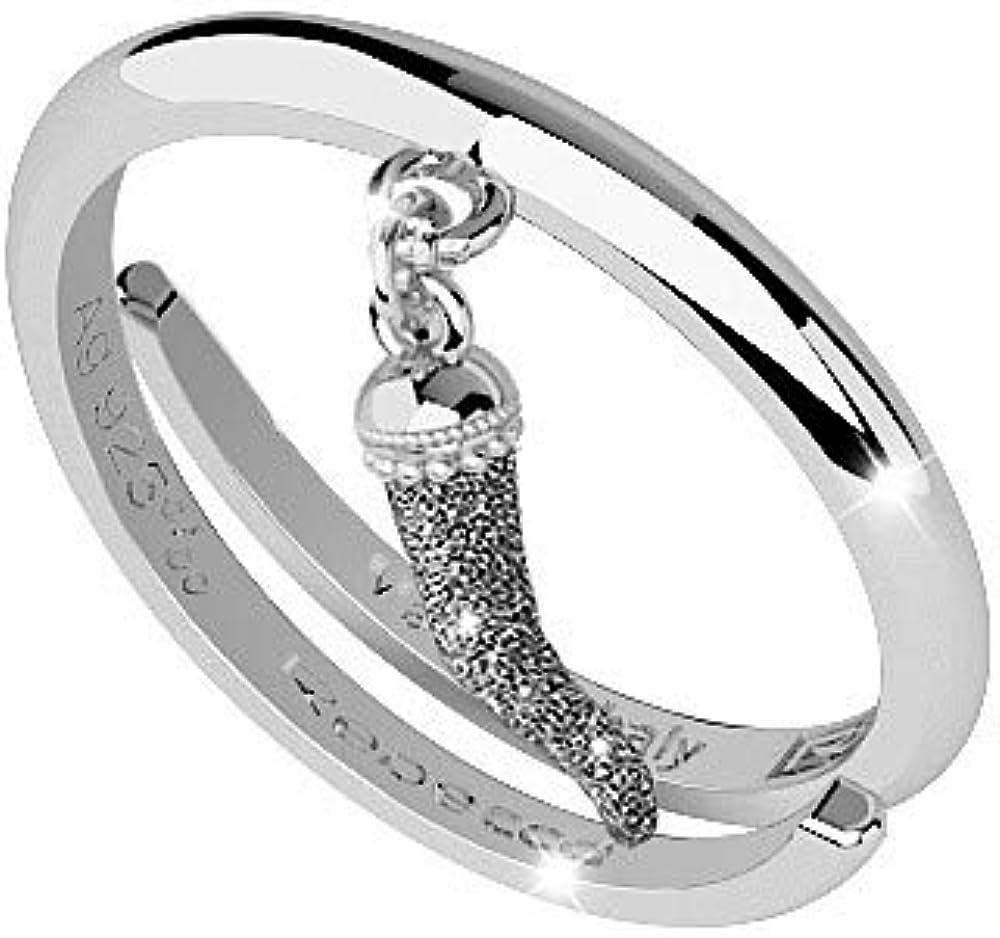Rebecca anello con pendente cornetto portafortuna   per donna in argento 925 e sabbia di diamanti. SJOAAA01