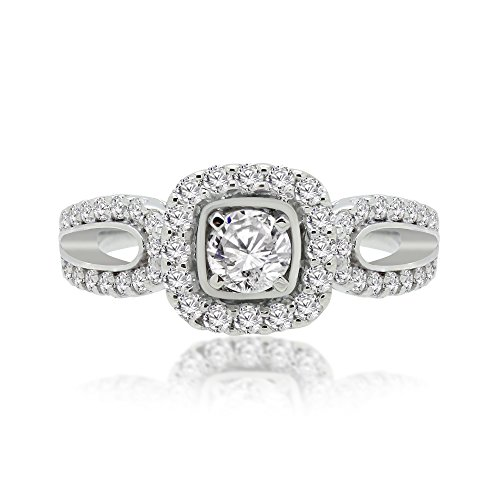 OMEGA JEWELLERY 1.00ct Round Cut Halo Pave Solitaire Split Shank Accent Natural Diamond Engagement Promise Statement Anniversary Bridal Wedding Ring Solid 14K White Gold