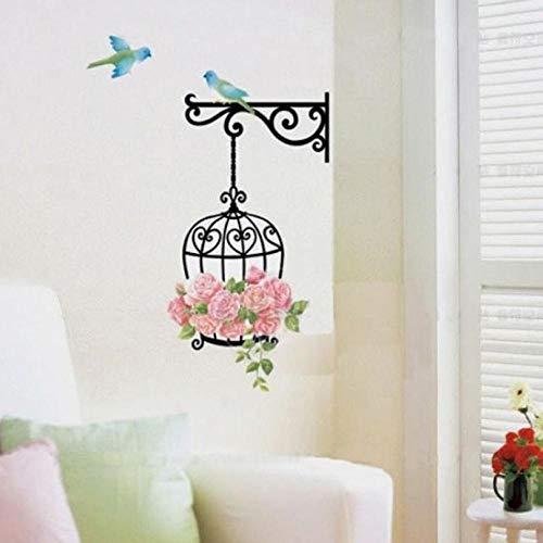 Adhesivo decorativo para pared y pared, diseño de flores, pájaros, decoración de vinilo, removible