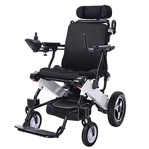 ELENKER Electric Wheelchair, Foldable Powered Mobility Aid Folding Carry Wheel Chair, Up to 15 Miles Range with 2 Batteries, Headrest