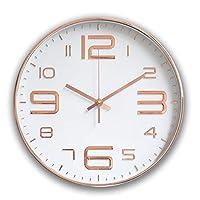 YIBOKANG インスモダンミニマリストリビングルームラウンドデジタルビッグフォント電気めっき時計ベッドルームリビングルーム研究オフィスファッションミュート石英壁時計 (Color : 6)