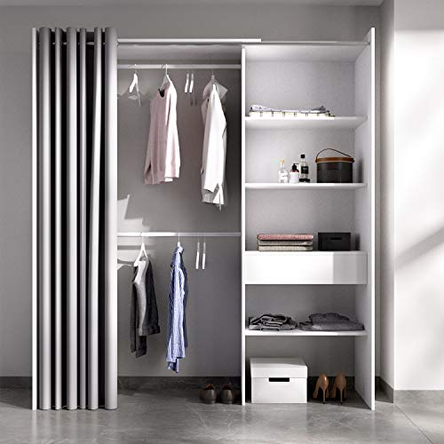 HABITMOBEL Vestidor almacenaje de Ropa con Cortina Tres baldas y Cajon, Medidas: Alto: 203 cm x Fondo: 50 cm x Ancho: 160 cm