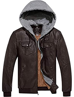 Wantdo Men's Faux Leather Jacket Leather Jacket with Removable Hood Dark Brown L from