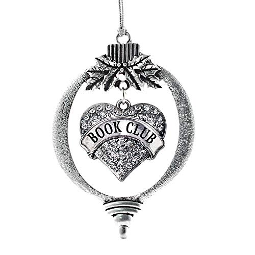 Inspired Silver - Book Club Charm Ornament - Silver Pave Heart Charm Holiday Ornaments with Cubic Zirconia Jewelry